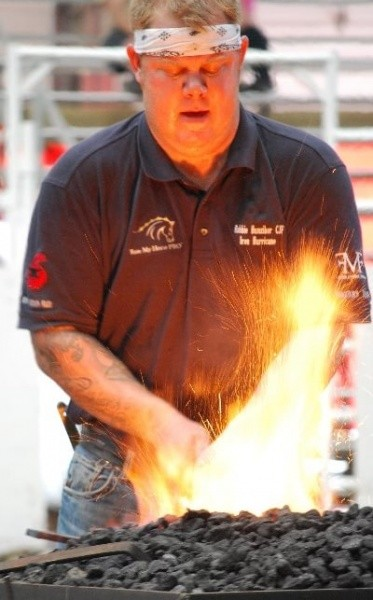 Robbie Hunziker CJF Forges in Calgary for Blacksmithing Competition